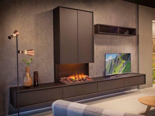 tv kast aurora met openhaard hout