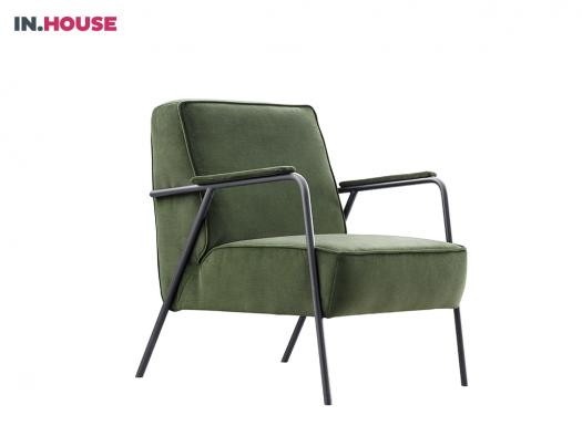 fauteuil in moss groen stof inhouse farli