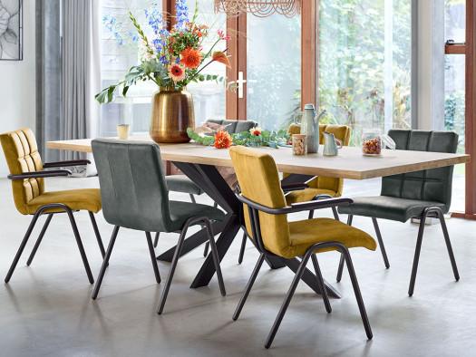 inspiratie foto armstoel en eetstoel auria modern inhouse grijs en geel.