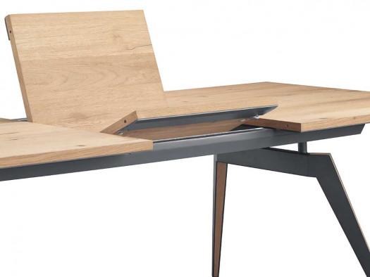 uitschuiftafel detail pento in eiken fineer inhouse meubels deruijtermeubel wonen noord holland.